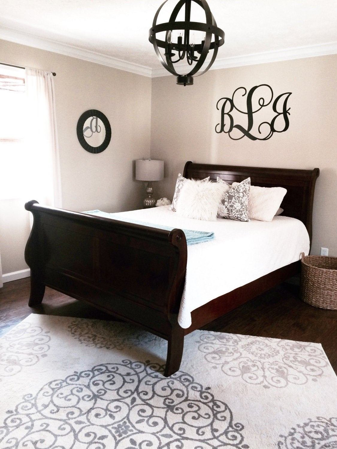 Best Vine Monogram Large Wall Decal Nursery Bedroom Master Bedroom Etsy With Pictures