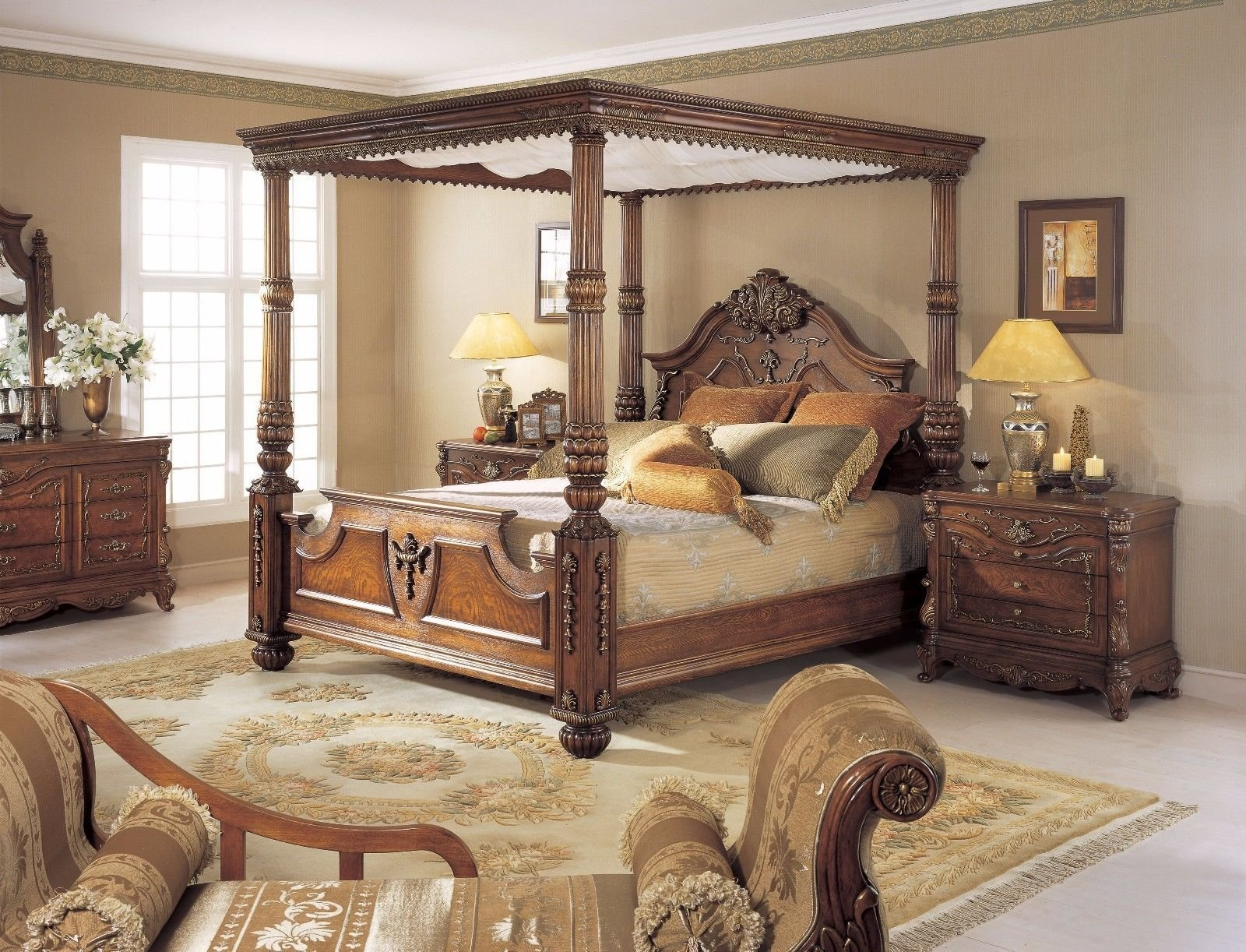 Best Mahogany Carved King Size Poster Bed W Canopy Ebay With Pictures