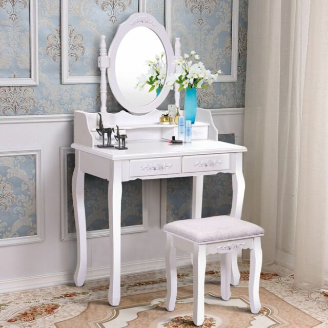 Best White Vanity Wood Makeup Dressing Table Stool Set Bedroom With Mirror 4Drawers Ebay With Pictures