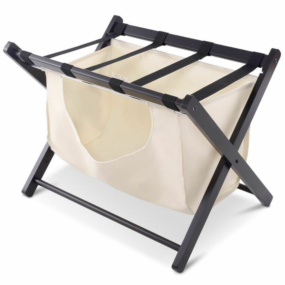 Best Wood Folding Luggage Rack Bedroom Suitcase Stand Hamper With Pictures