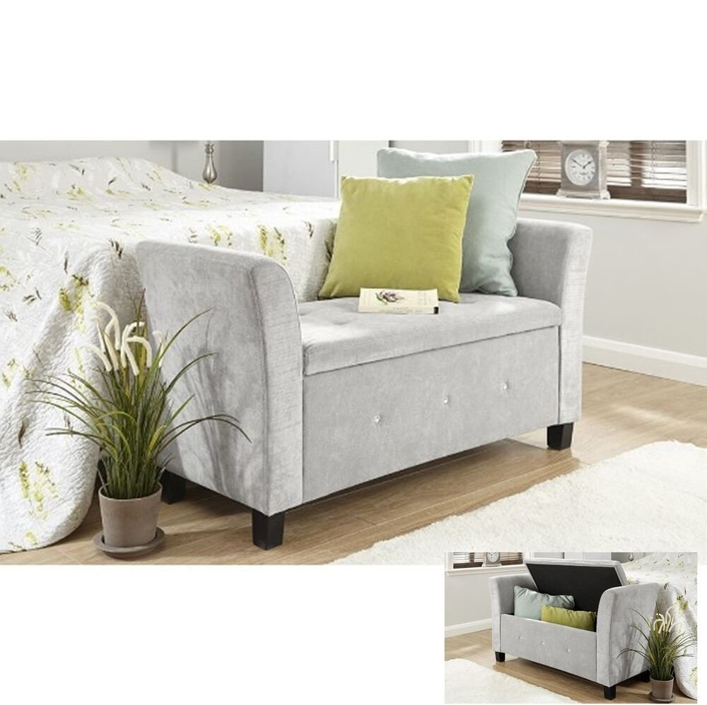 Best Fabric Storage Bench Chaise Longue Deluxe Stool Bedroom Seat Grey Chair Ottoman Ebay With Pictures