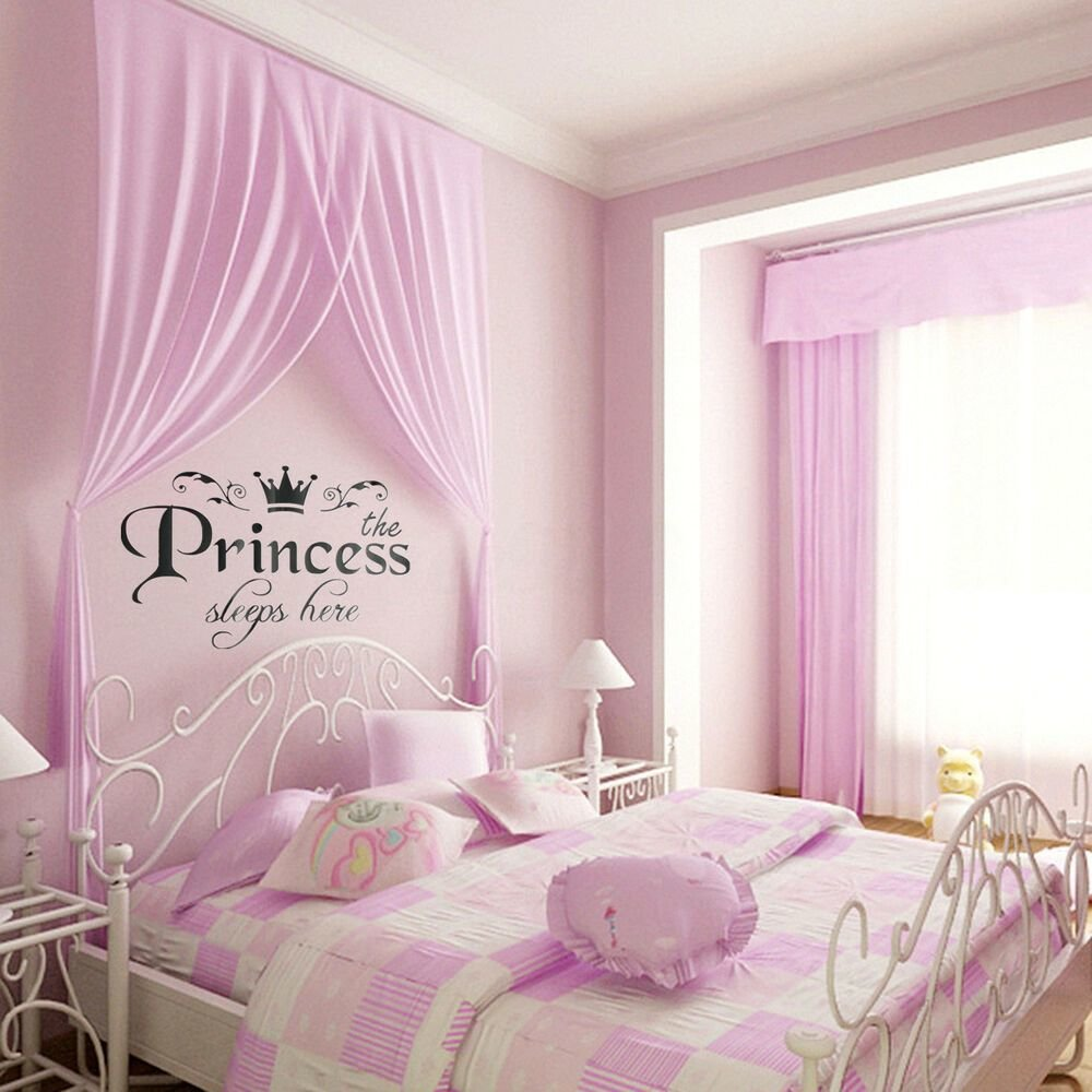 Best Removable Vinyl Wall Stickers Girls Fairy Tale Princess Bedroom Pink Decals Ebay With Pictures