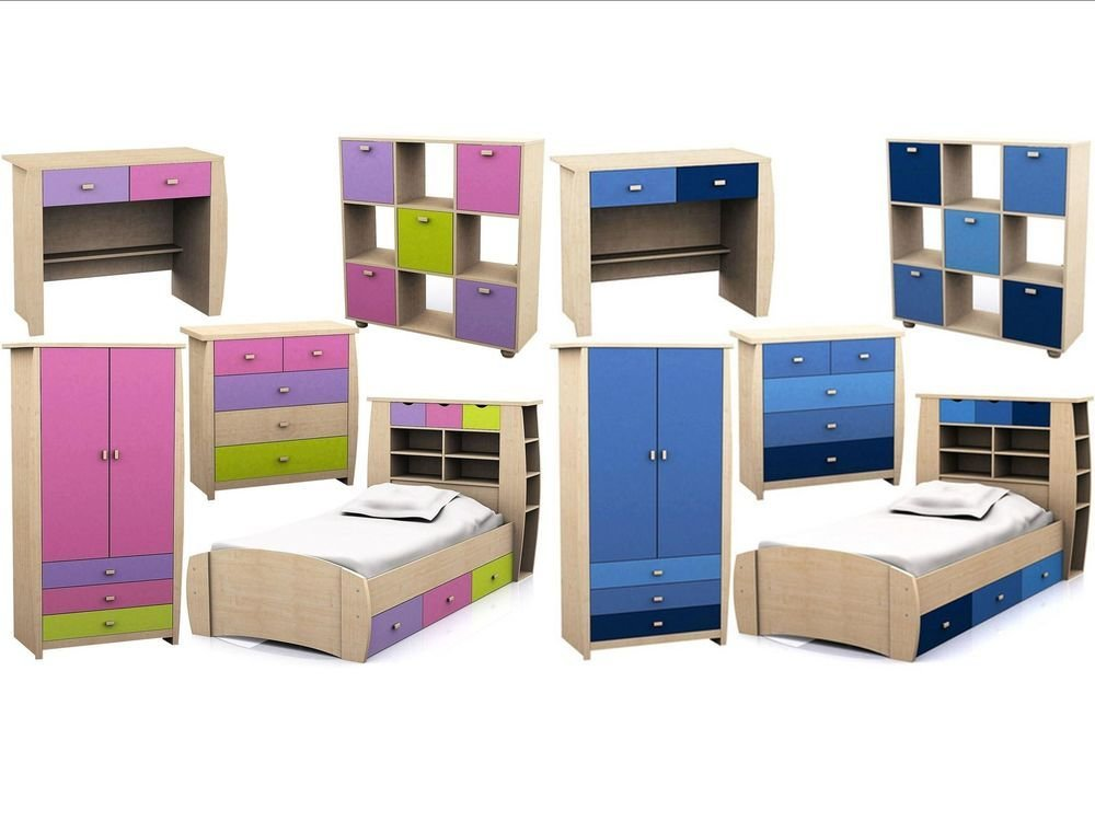 Best Childrens Pink Or Blue Bedroom Furniture Bed Wardrobe With Pictures