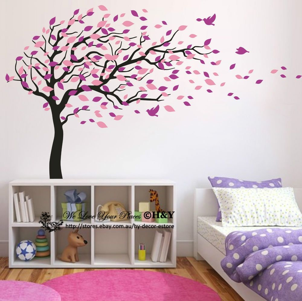 Best Blowing Tree Birds Wall Stickers Nursery Decal Baby Kids Art Decor Removable Diy Ebay With Pictures