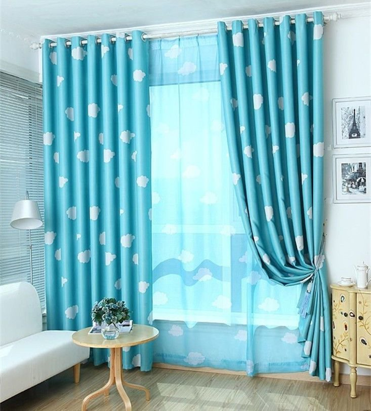 Best 2 X Blockout Eyelet Curtains Kids Boys Girls Sky Blue Bedroom 140Cm X 230Cm Pair Ebay With Pictures