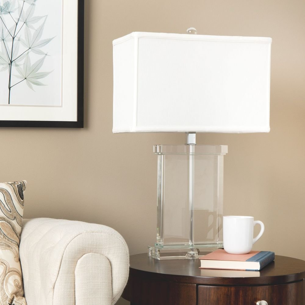 Best Modern Table Lamp White Fabric Shade Crystal Base Accent With Pictures