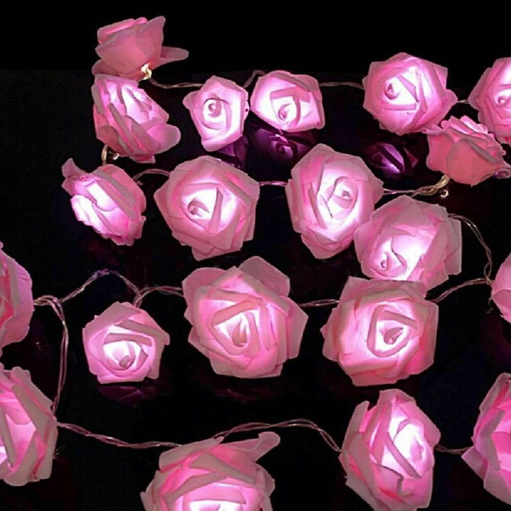 Best Pink White Leds Rose Flower String Lights Living Bedroom With Pictures
