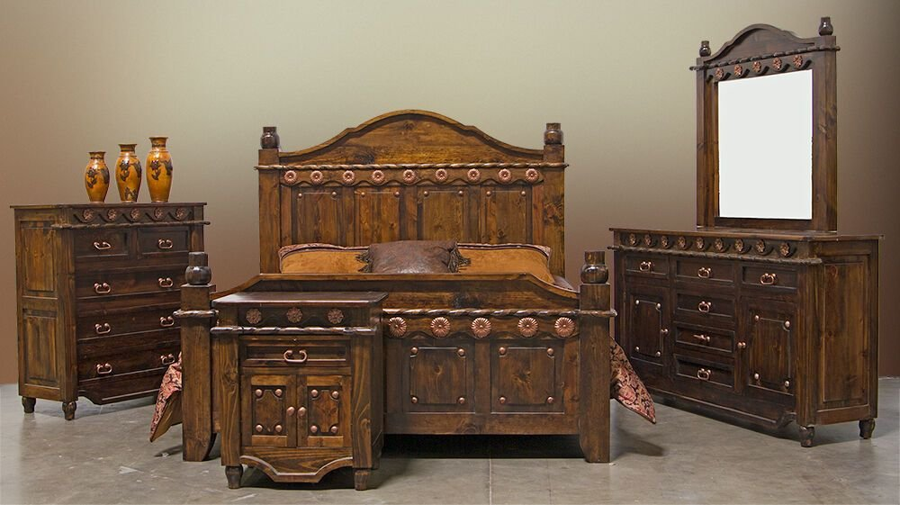 Best Grand Dark Walnut Bedroom Set Copper Accents Real Wood With Pictures