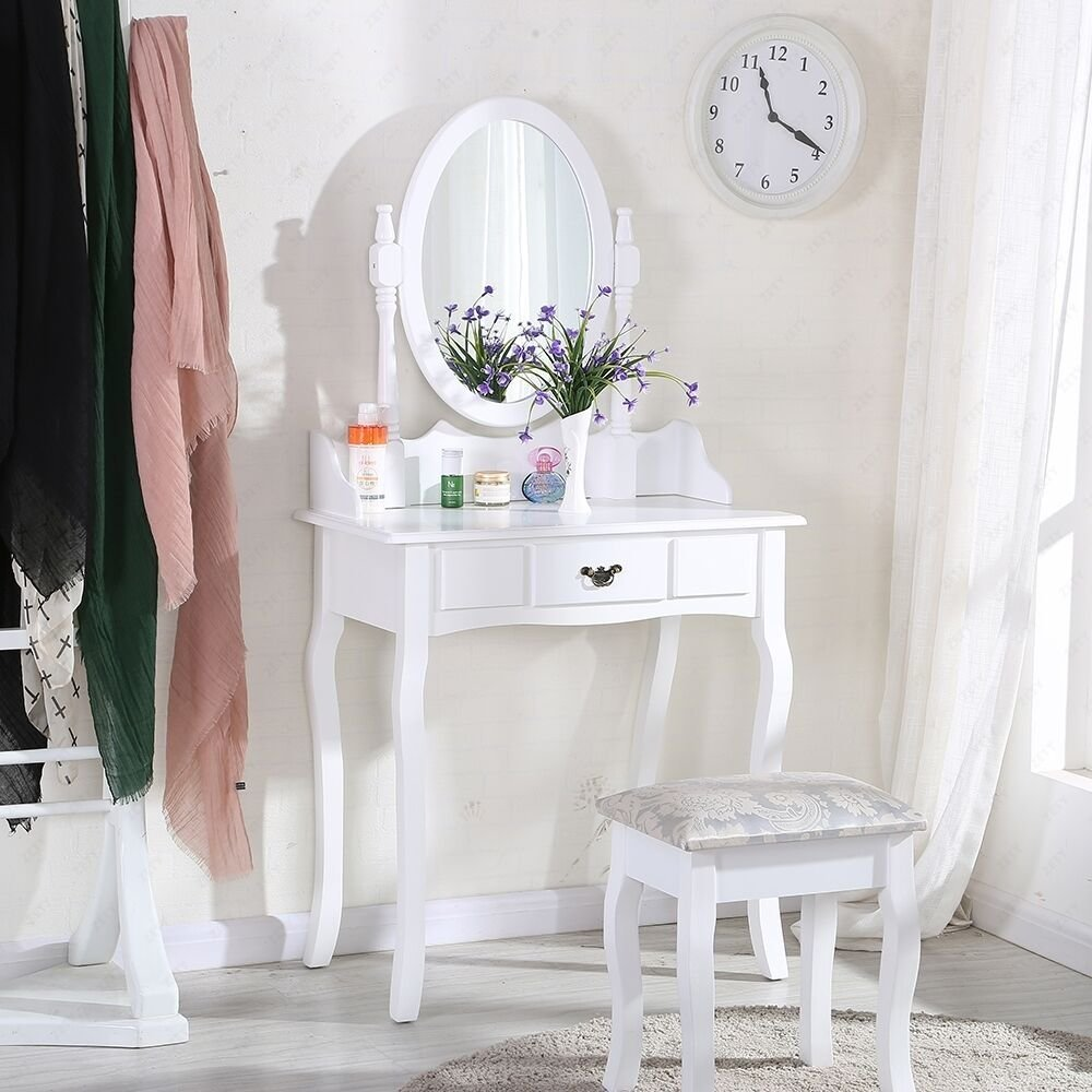 Best White Dressing Table Makeup Desk Sets With Stool And Oval With Pictures