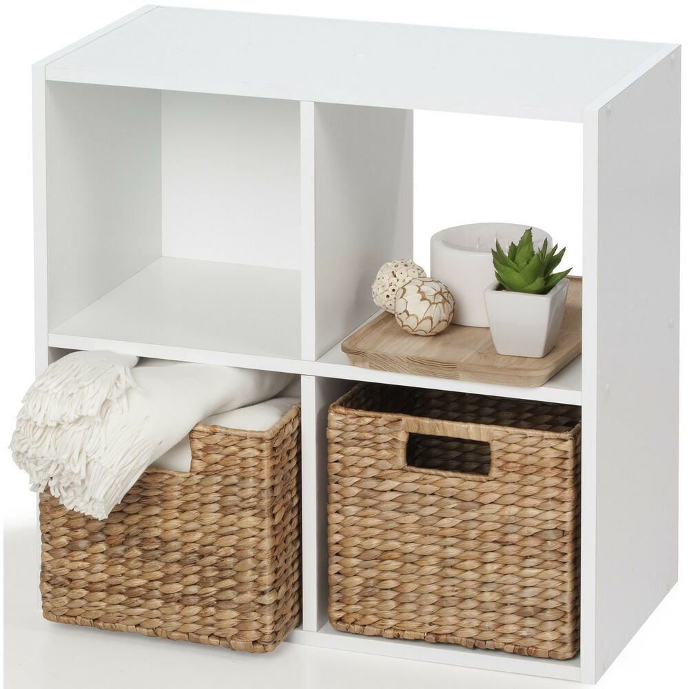 Best Storage Unit 4 Cube White Bookcase Display Shelf Showcase Living Room Bedroom Ebay With Pictures