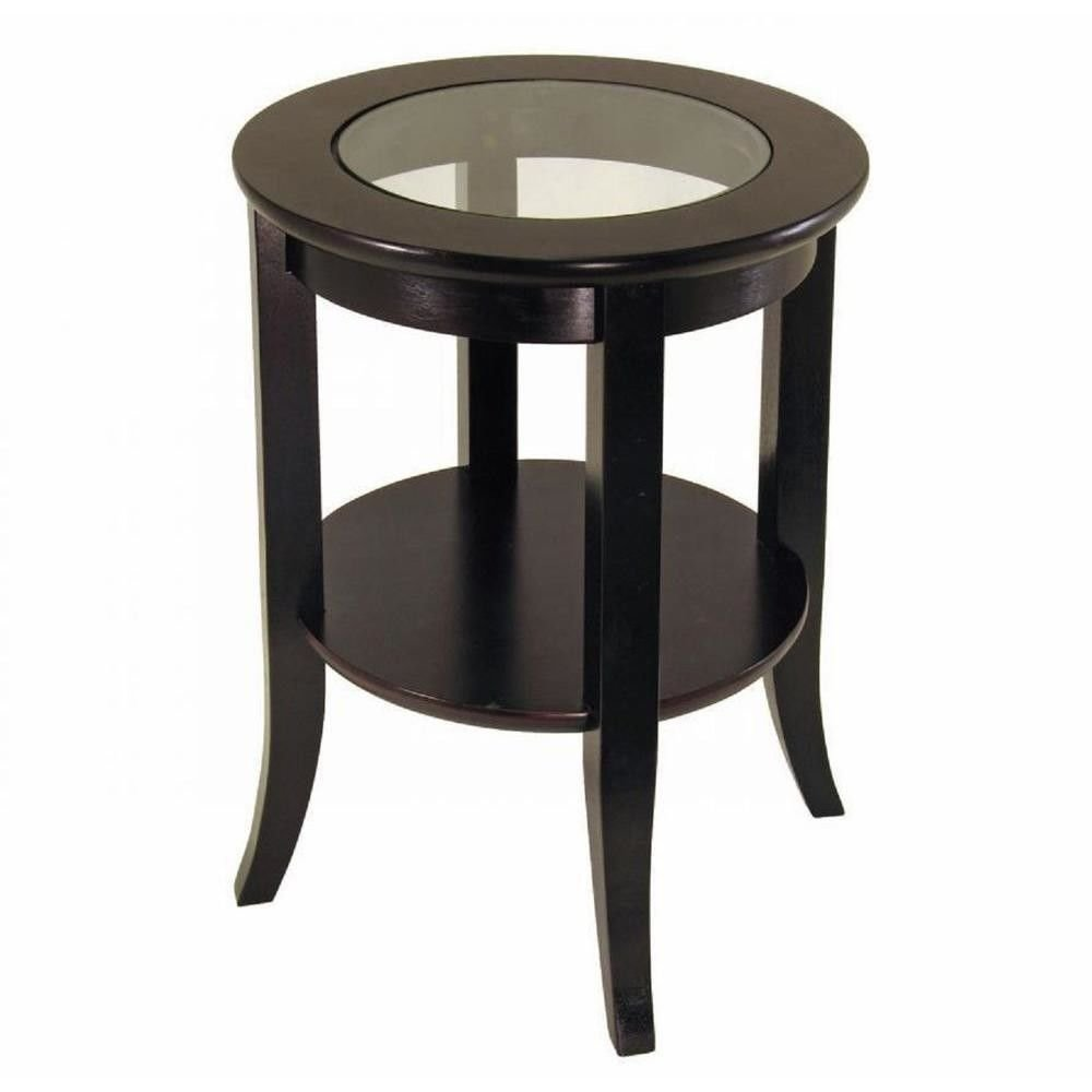 Best Espresso Round End Table Clear Glass Top Bedroom Living With Pictures