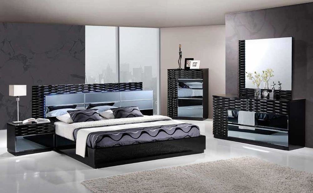 Best Manhattan King Size Modern Black Bedroom Set 5Pc Global With Pictures