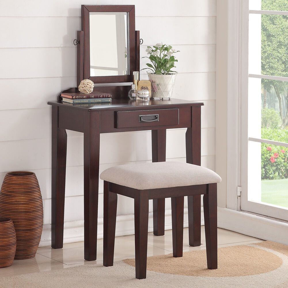 Best Bedroom Small Vanity Makeup Table Mirror Bench Storage Drawer Wood Espresso 742169038691 Ebay With Pictures