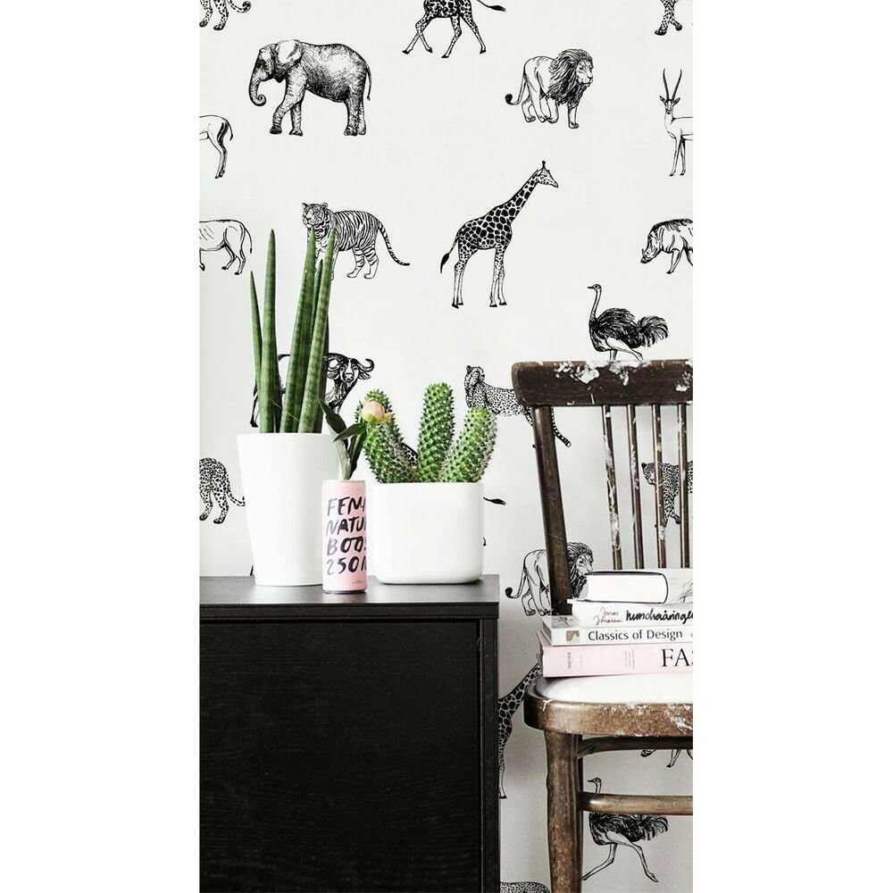 Best Safari Animals Elephant Giraffe Africa Decor Wall Mural Wild Removable Wallpaper Ebay With Pictures