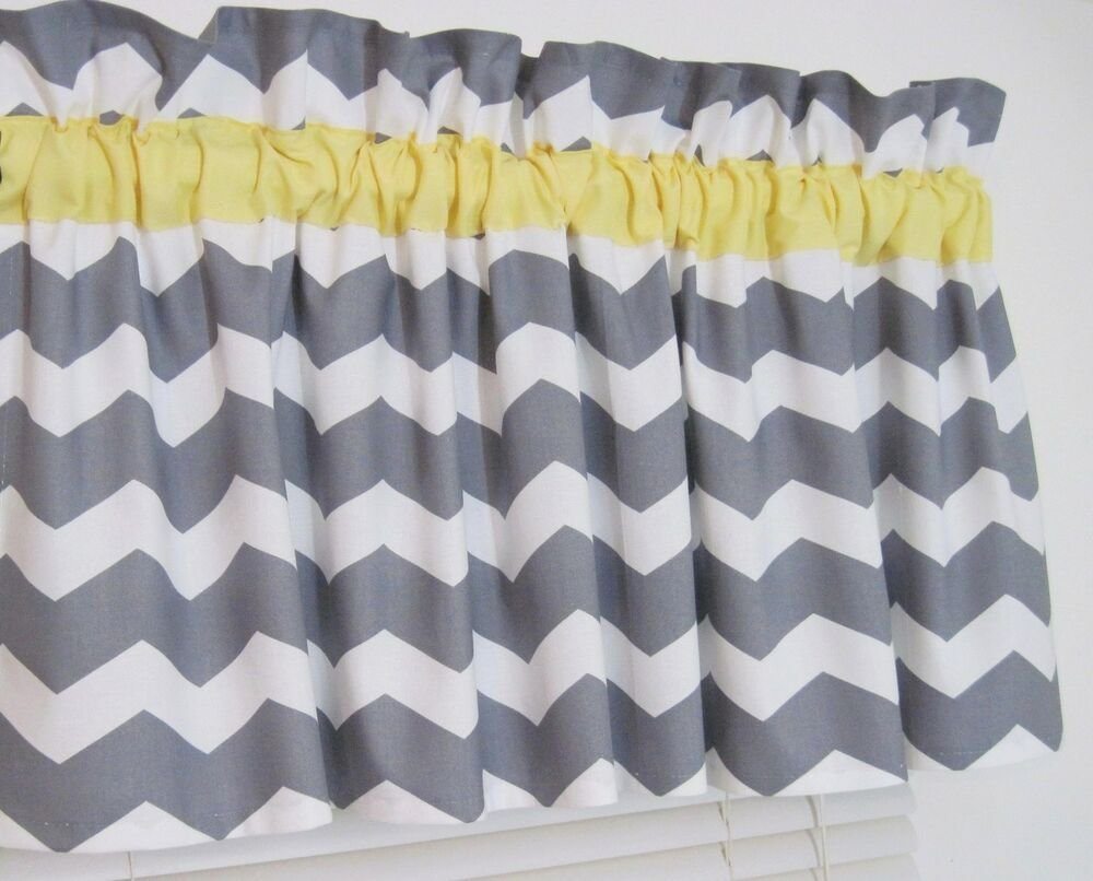 Best Yellow Gray Chevron Window Curtain Topper Valance Zig With Pictures