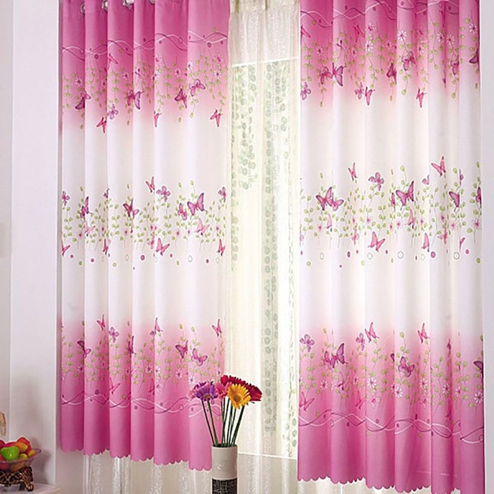 Best Pink Butterfly Childrens Bedroom Finished Curtain Kids With Pictures