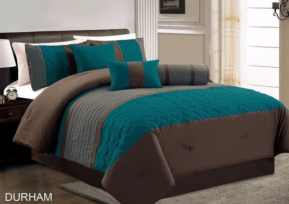 Best 7 Piece Durham Teal Grey Brown Pleated Quilting Comforter With Pictures