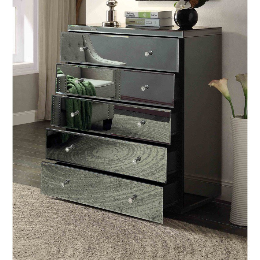Best Rio Crystal Smoke Mirrored Bedside Tables Tallboy Mirror Furniture With Pictures