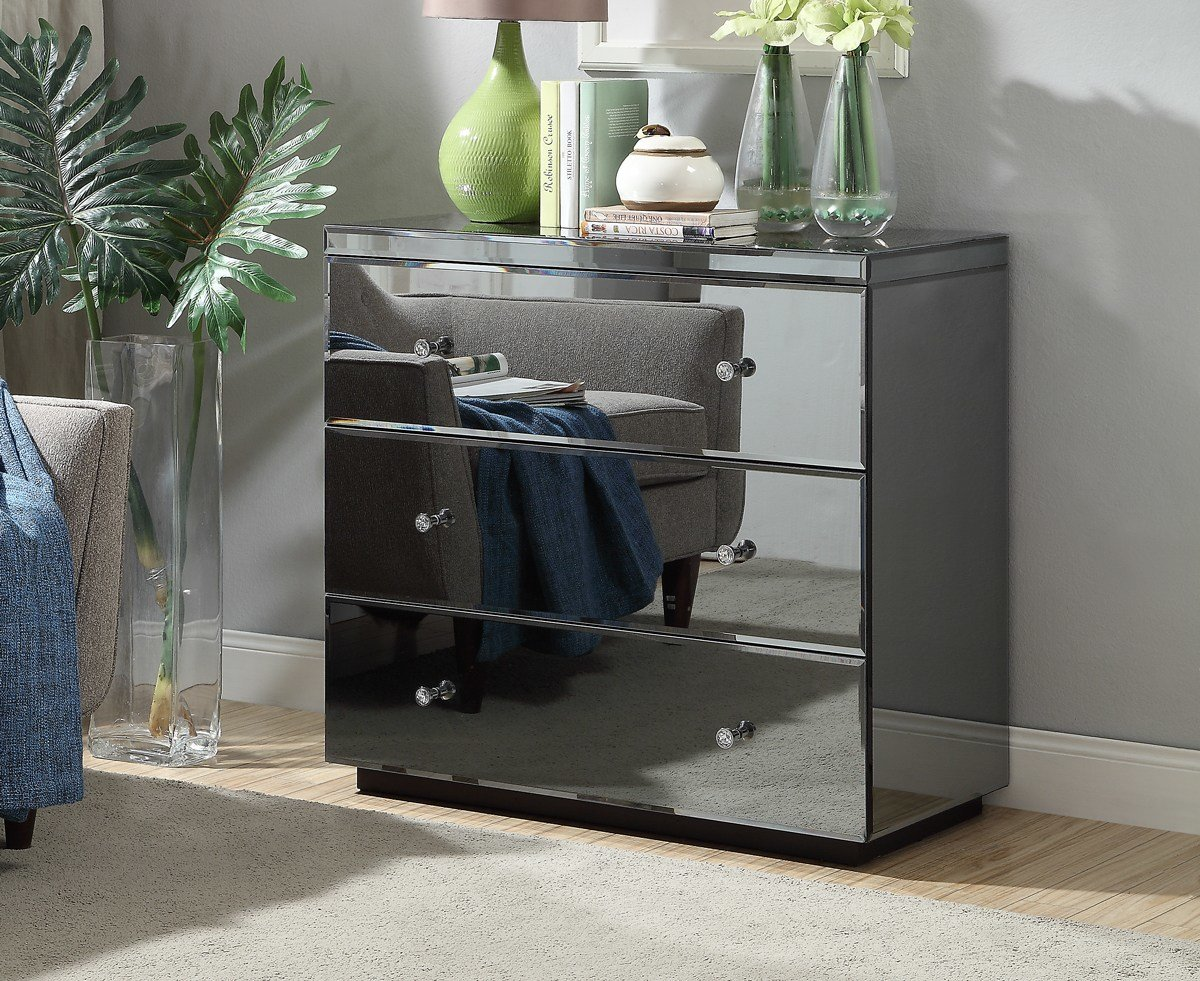 Best Rio Crystal Smoke Mirrored Tallboy Chest 3 Drawer Mirror Furniture 9350093002711 Ebay With Pictures