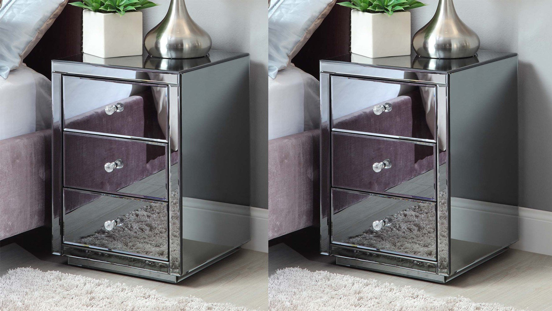Best Pair Vegas Smoke Mirrored Bedside Table Chest Mirror Furniture Ebay With Pictures