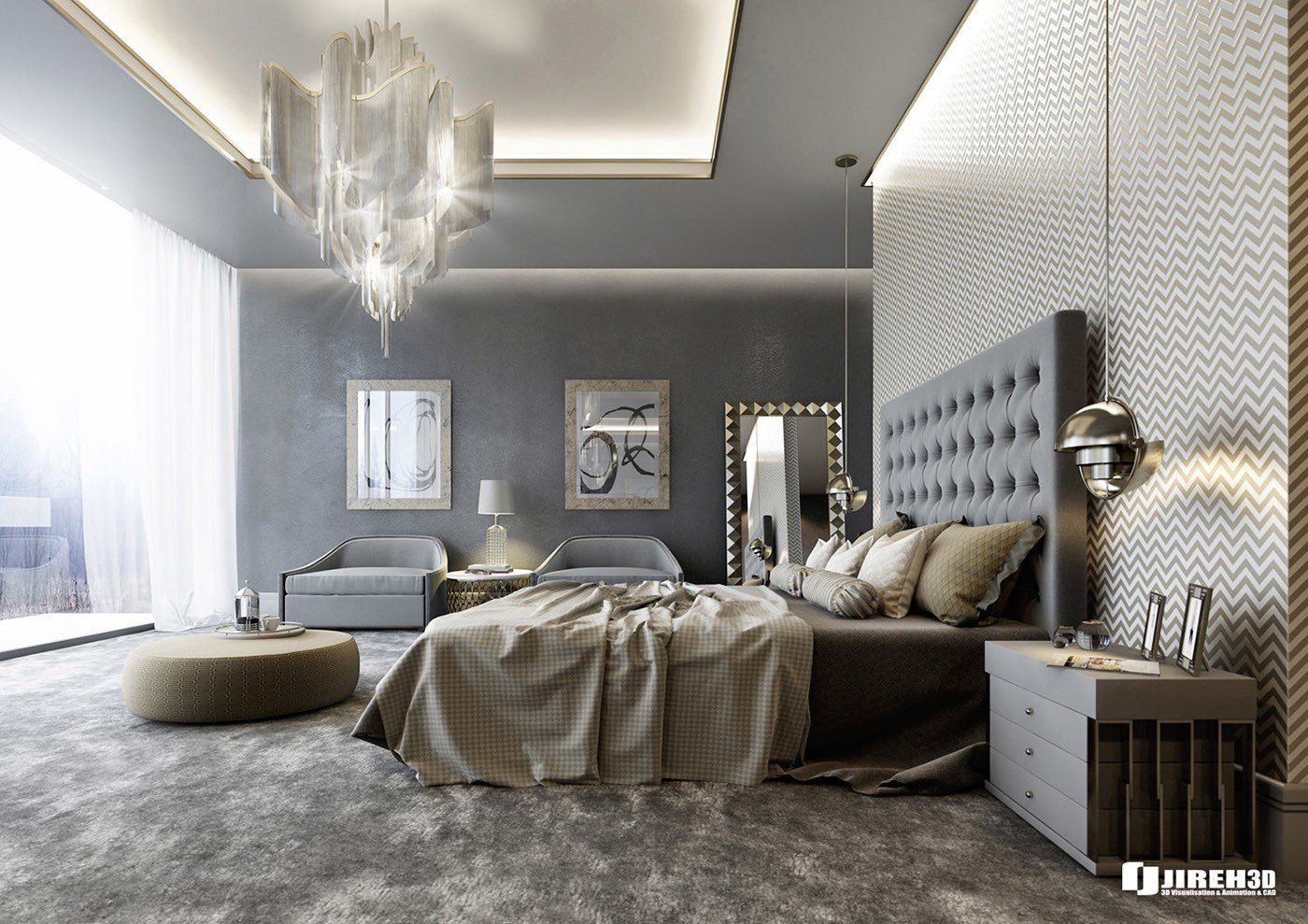 Best Vrayforc4D Scene Files Modern Classic Bedroom Scene On With Pictures