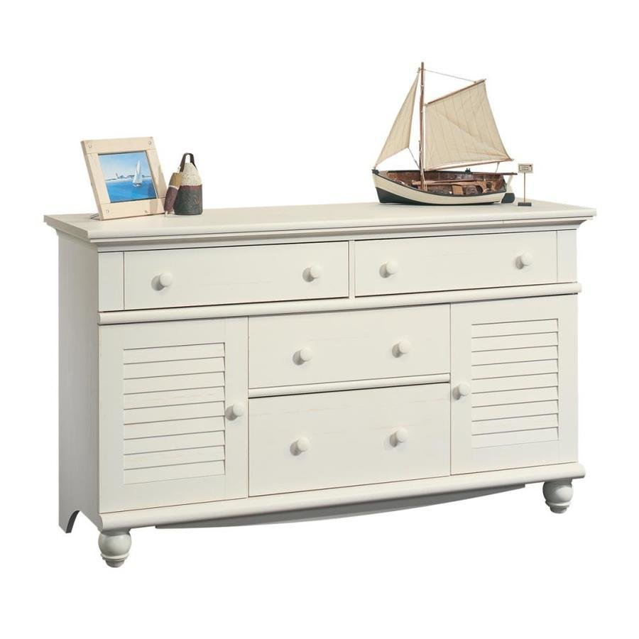 Best Sauder Harbor View Antiqued White 4 Drawer Dresser At With Pictures