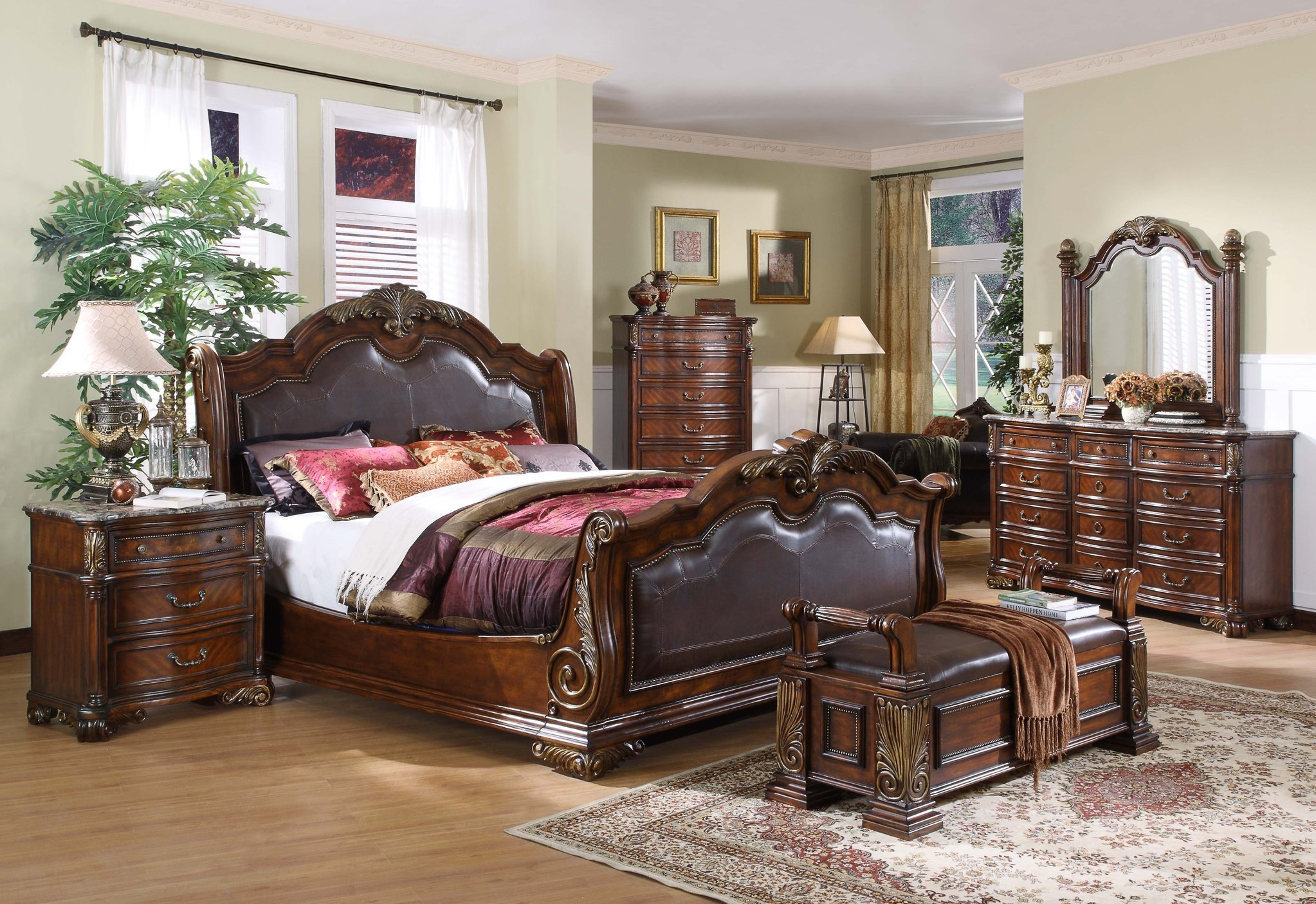 Best Sleigh Bedroom Collection Leather Headboard Footboard With Pictures