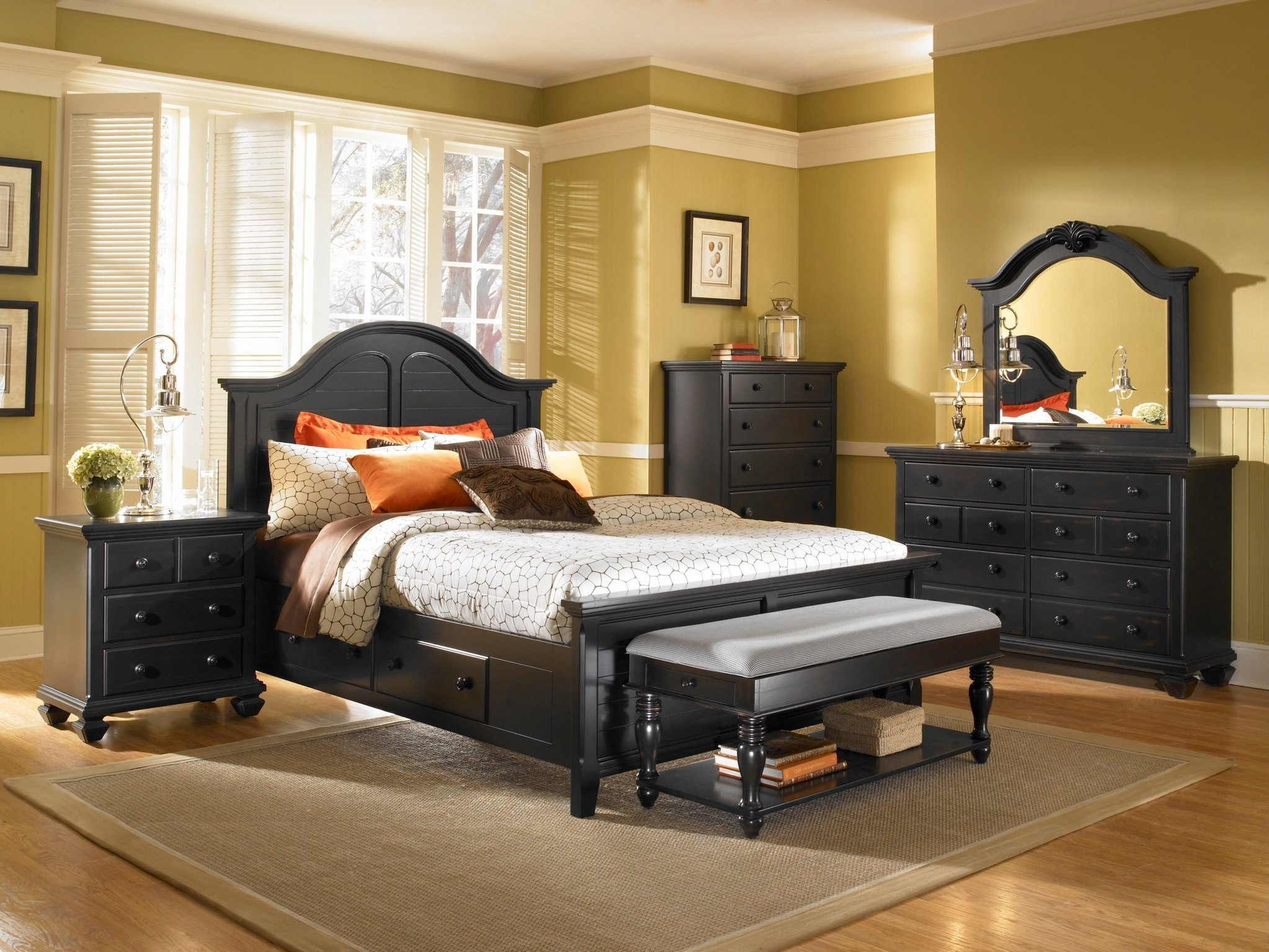 Best Espresso Country Style Bedroom Collection Panel Bed Storage Drawers Bedroom Furniture With Pictures