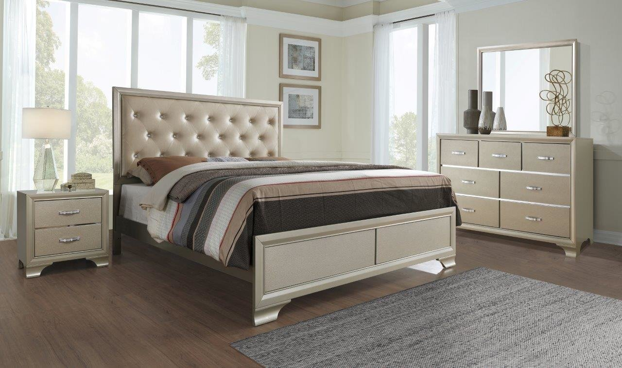 Best Noelle Champagne Bedroom Set By Global Furniture With Pictures