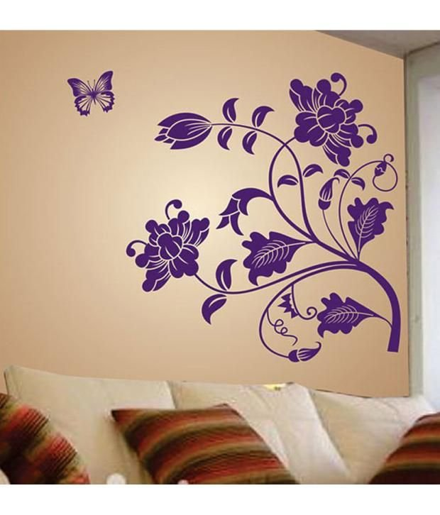 Best Stickerskart Wall Stickers Wall Decals Purple Vine Flower With Pictures
