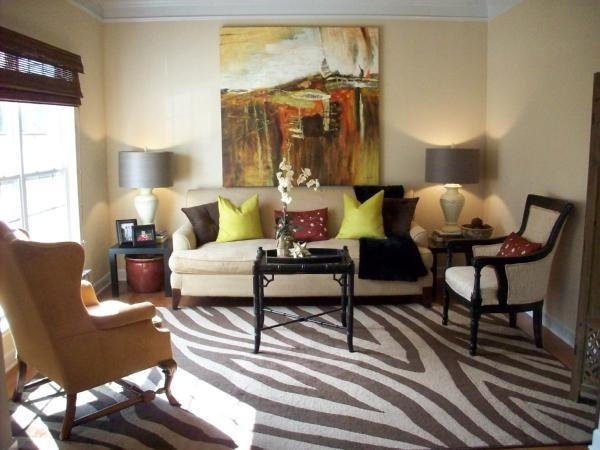 Best Zebra Rug Transitional Living Room Emily A Clark With Pictures