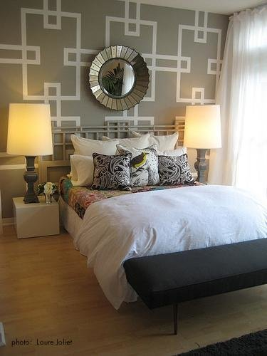 Best Stenciled Accent Wall Contemporary Bedroom With Pictures