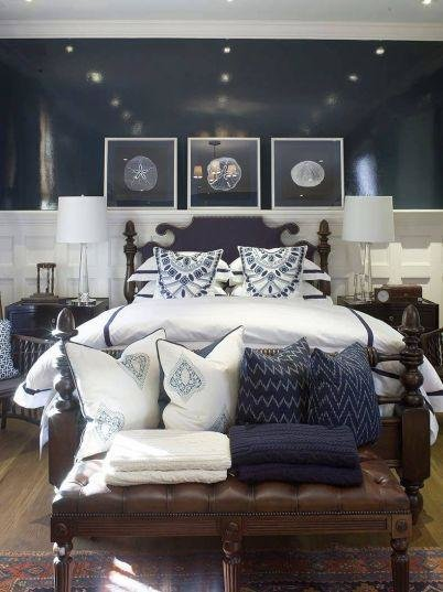 Best Navy Blue Bedroom Design Cottage Bedroom Phoebe Howard With Pictures