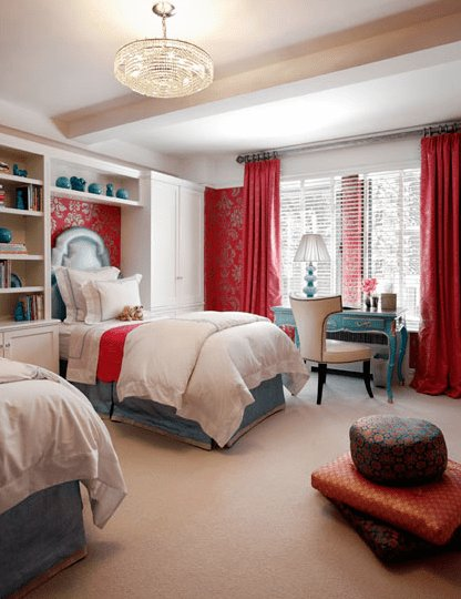 Best Blue And Red Girls Room Contemporary Girl S Room With Pictures