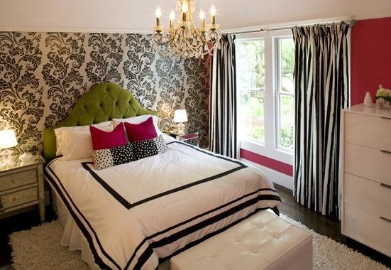 Best Black And White Curtains Contemporary Girl S Room With Pictures