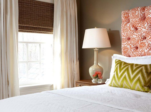 Best Orange Tufted Headboard Contemporary Bedroom Carey With Pictures