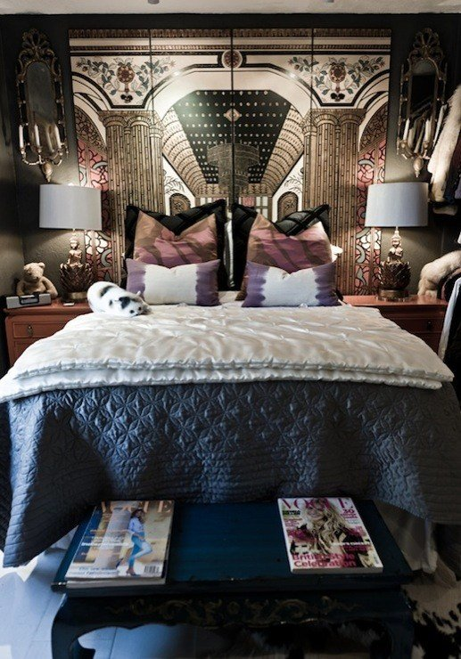 Best Folding Screen Headboard Eclectic Bedroom Rue Magazine With Pictures