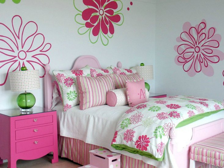 Best Pink And Green Girl S Bedding Contemporary Girl S Room With Pictures