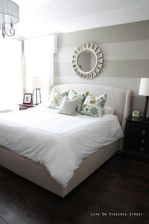 Best Bedroom With Gray Striped Walls With Pictures