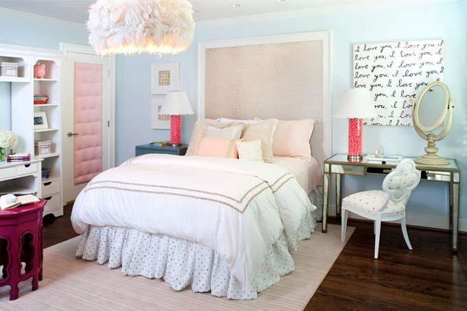 Best Pink And Blue T**N Bedroom Contemporary Girl S Room With Pictures