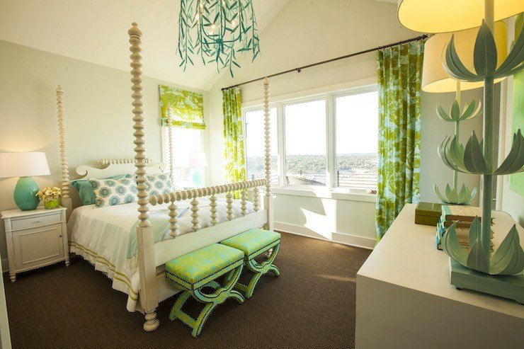 Best Turquoise And Green Girl S Room Contemporary Girl S Room Southern Living With Pictures