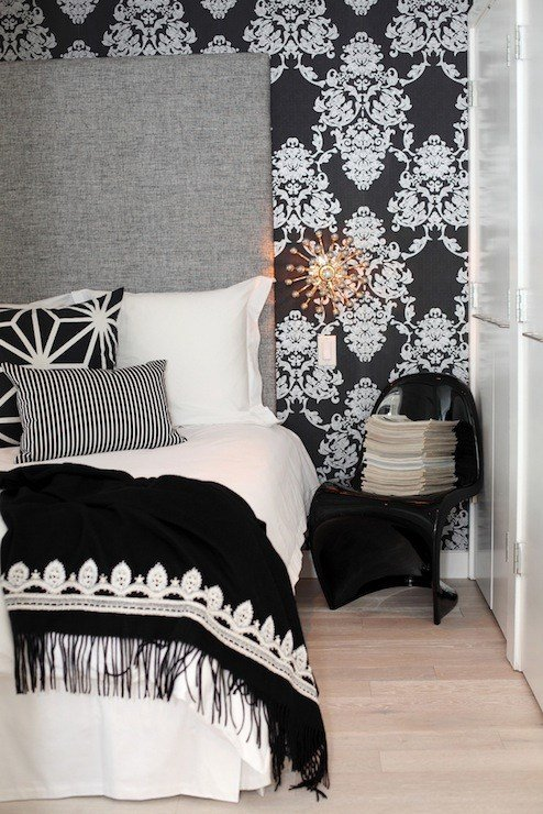 Best Black Damask Wallpaper Contemporary Bedroom With Pictures