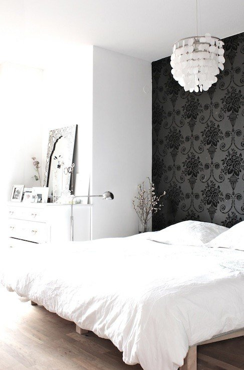Best Wallpaper Accent Wall Transitional Bedroom My With Pictures