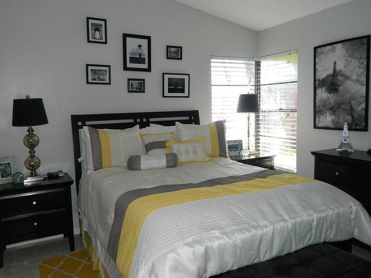 Best Yellow And Gray Bedroom With Black Furniture With Pictures