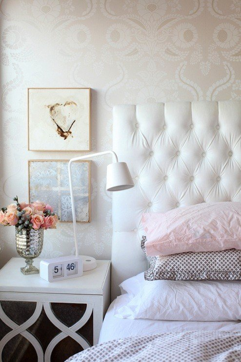 Best White Velvet Headboard Transitional Bedroom The With Pictures