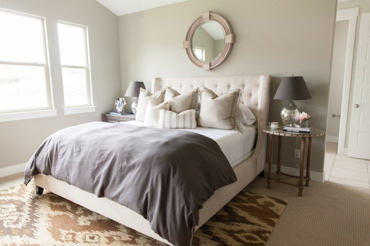 Best Cream Tufted Headboard Transitional Bedroom Alice Lane Home With Pictures