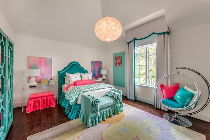 Best Teal Headboards Contemporary Girl S Room Talbot Cooley Interiors With Pictures