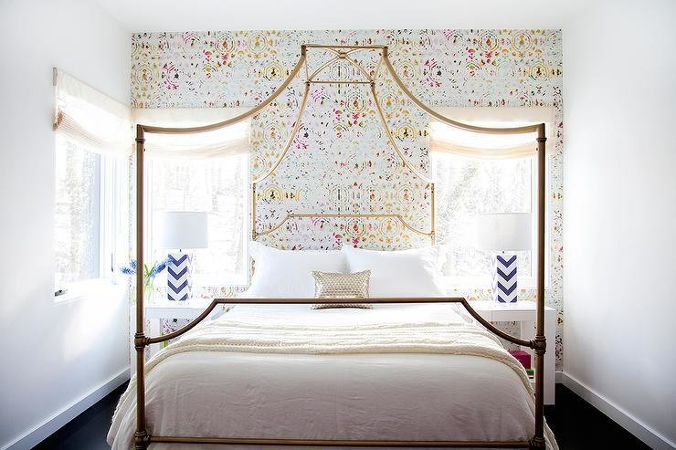 Best Gold Canopy Bed Contemporary Girl S Room With Pictures