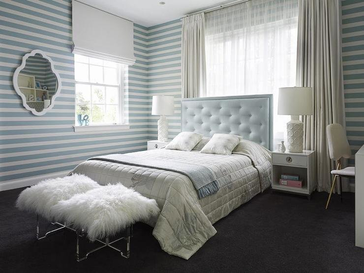 Best Baby Blue Tufted Headboard With White Nightstands With Pictures