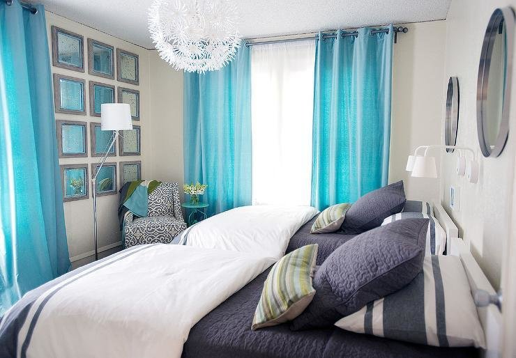 Best Turquoise And Navy Kids Bedrooms Contemporary Bedroom With Pictures